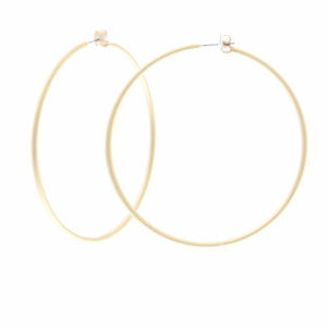Jewelry - Large Matte Gold Tone Smooth Brass Hoop Earrings